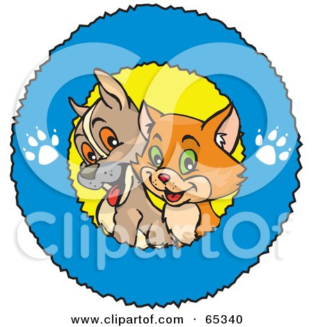 Royalty-Free (RF) Clipart Illustration of a Cute Puppy And Cat In A Blue Paw Print Ring Logo by Dennis Holmes Designs