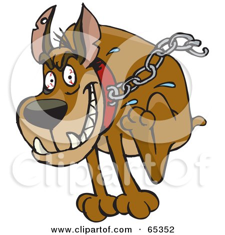 Royalty-Free (RF) Clipart Illustration of a Tough Guard Dog With Blood Shot Eyes, Breaking Free Of His Chain by Dennis Holmes Designs