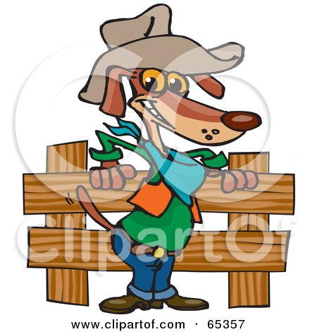 Royalty-Free (RF) Clipart Illustration of a Cowboy Wiener Dog By A Wooden Fence by Dennis Holmes Designs