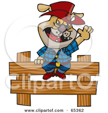 Royalty-Free (RF) Clipart Illustration of a Cowboy Bulldog By A Wooden Fence by Dennis Holmes Designs