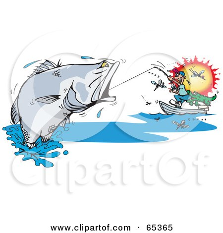 Royalty-Free (RF) Clipart Illustration of a Man Reeling In A Large Barramundi Fish, Surrounded By Flies by Dennis Holmes Designs