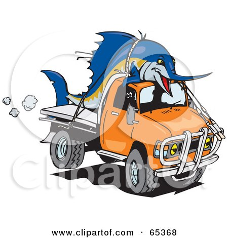 Royalty-Free (RF) Clipart Illustration of a Billfishblue Marlin Fish Tied On Top Of An Orange Ute by Dennis Holmes Designs