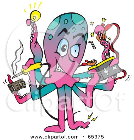 Royalty-Free (RF) Clipart Illustration of an Electrician Octopus by Dennis Holmes Designs