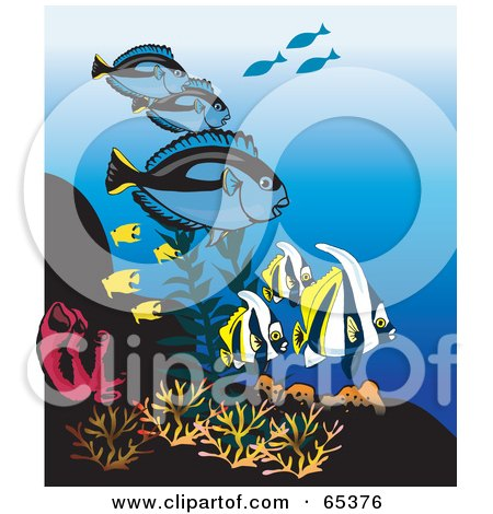 Royalty-Free (RF) Clipart Illustration of Blue Tangs And Tropical Fish At A Coral Reef by Dennis Holmes Designs