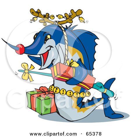 Royalty-Free (RF) Clipart Illustration of a Blue Marlin Fish Wearing Antlers And Carrying Presents by Dennis Holmes Designs