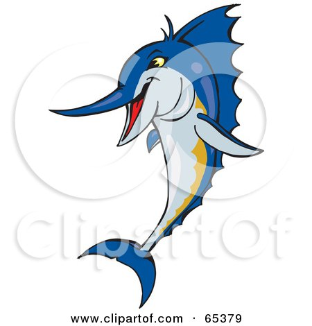 Royalty-Free (RF) Clipart Illustration of a Blue Marlin Fish Leaping by Dennis Holmes Designs
