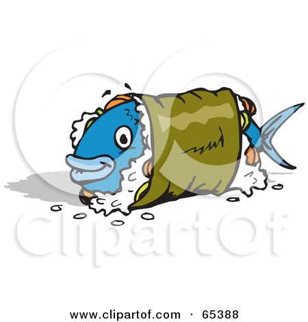 Blue Fish Sushi | Royalty Free Rf Clipart Illustration Of A Blue Fish Wrapped In A