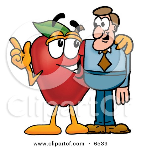 Red Apple Character Mascot Talking Nutrition With a Business Man Clipart Picture by Toons4Biz