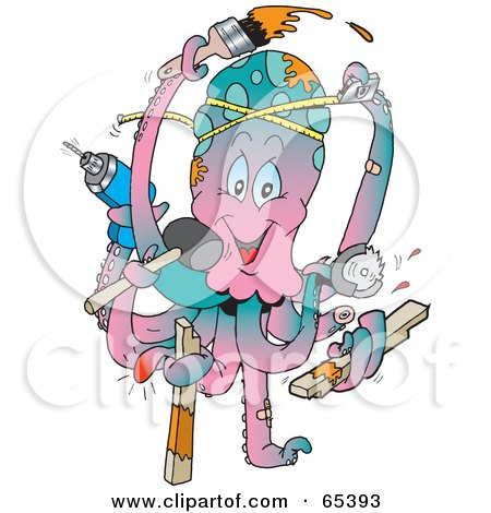 Royalty-Free (RF) Clipart Illustration of a Handy Octopus Working On Home Improvement Projects by Dennis Holmes Designs
