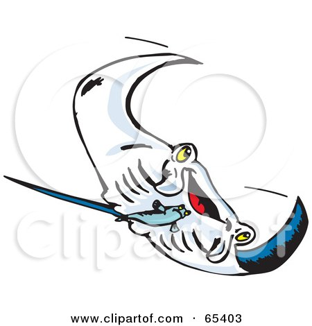Royalty-Free (RF) Clipart Illustration of a Swimming Manta Ray Swooping Right by Dennis Holmes Designs