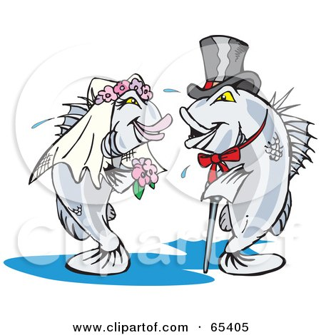 Royalty-Free (RF) Clipart Illustration of a Barramundi Bride And Groom Getting Married by Dennis Holmes Designs