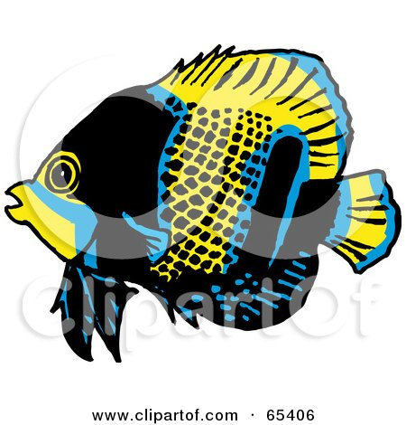 Royalty-Free (RF) Clipart Illustration of a Blue, Black And Yellow Butterfly Fish by Dennis Holmes Designs
