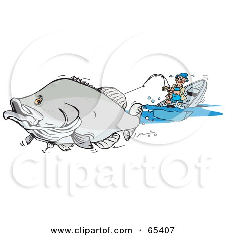 Royalty-Free (RF) Clipart Illustration of a Large Barramundi Fish Pulling A Man In A Boat by Dennis Holmes Designs