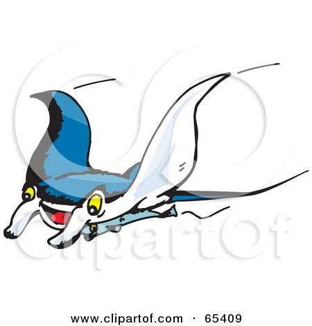 Royalty-Free (RF) Clipart Illustration of a Swimming Manta Ray Swooping Left by Dennis Holmes Designs