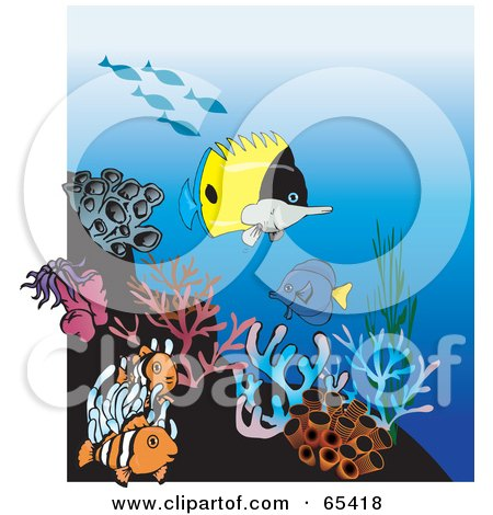 Royalty-Free (RF) Clipart Illustration of Clownfish, Butterfly Fish And Sea Anemones At A Coral Reef by Dennis Holmes Designs