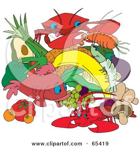 Clipart of a Cartoon Happy Shrimp Prawn Wearing a ...