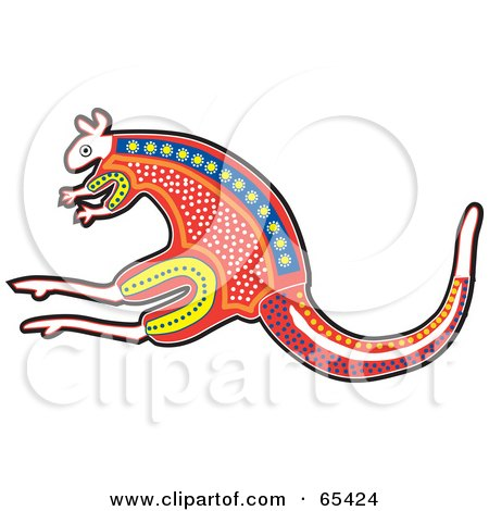 Royalty-Free (RF) Clipart Illustration of a Red Aboriginal Styled Kangaroo by Dennis Holmes Designs
