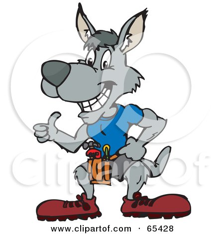 Royalty-Free (RF) Clipart Illustration of a Handy Kangaroo Giving The Thumbs Up by Dennis Holmes Designs