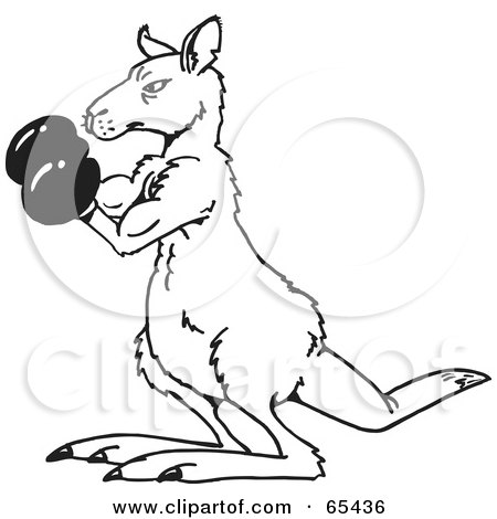 Royalty Free Rf Clipart Illustration Of A Black And White Boxing