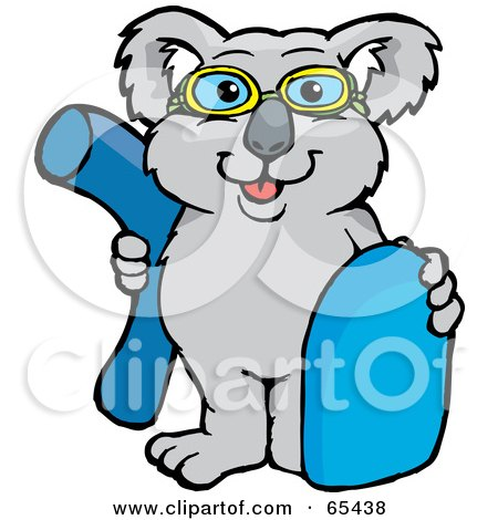 Royalty-Free (RF) Clipart Illustration of a Koala Wearing Swim Goggles And Holding A Noodle And Boogie Board by Dennis Holmes Designs