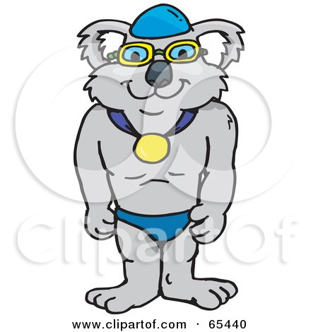 Royalty-Free (RF) Clipart Illustration of a Strong Simmer Koala Wearing A Medal by Dennis Holmes Designs