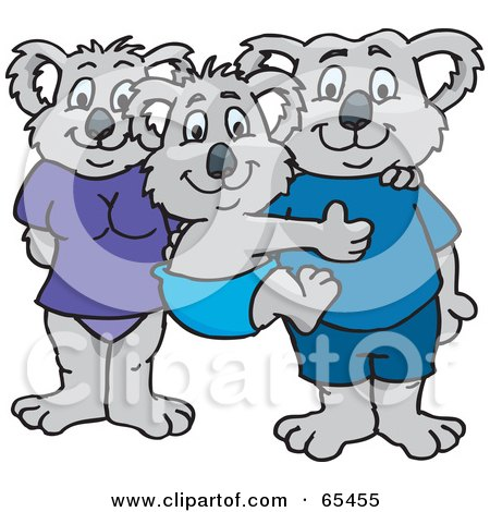 Royalty-Free (RF) Clipart Illustration of a Koala Family In Swim Clothes by Dennis Holmes Designs