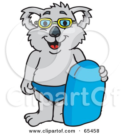 Royalty-Free (RF) Clipart Illustration of a Koala In Swim Shorts And Goggles, Holding A Body Board by Dennis Holmes Designs