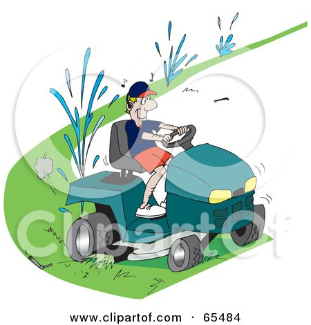 Royalty-Free (RF) Clipart Illustration of a Clueless Man Running Over Sprinklers While Riding A Lawn Mower by Dennis Holmes Designs