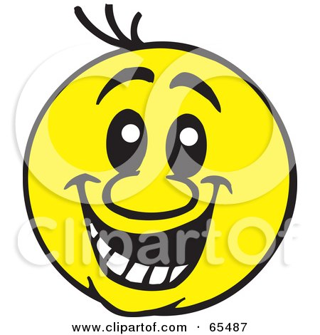 RoyaltyFree RF Clipart Illustration of a Big Friendly Yellow Smiley Face