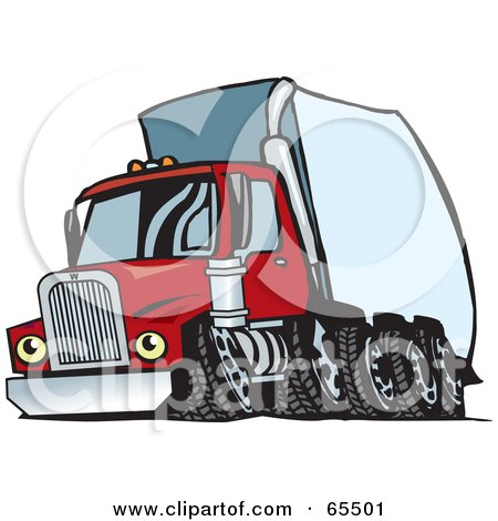 Royalty-Free (RF) Clipart Illustration of a Speeding Red Semi Truck With A White Trailer by Dennis Holmes Designs