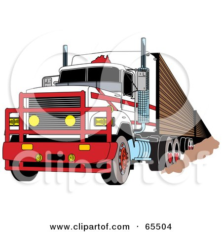 Royalty-Free (RF) Clipart Illustration of a Tough White Big Rig With A Metal Grille by Dennis Holmes Designs