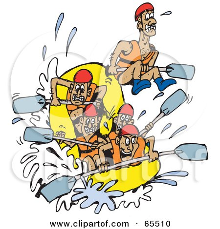 Royalty Free RF White Water Rafting Clipart Illustrations Vector