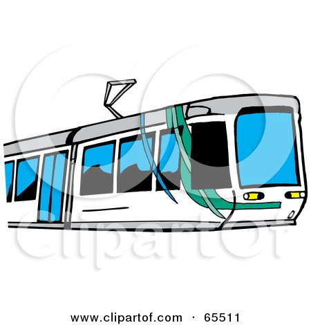 Royalty-Free (RF) Clipart Illustration of a Modern Money Train With Blue Windows by Dennis Holmes Designs