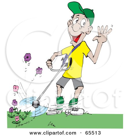 Royalty-Free (RF) Clipart Illustration of a Clueless Man Weed Wacking Flowers While Waving by Dennis Holmes Designs