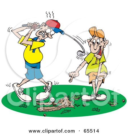 Royalty-Free (RF) Clipart Illustration of a Man Pointing And Laughing At The Scrapes In The Grass While A Man Tries To Swing At A Golf Ball by Dennis Holmes Designs