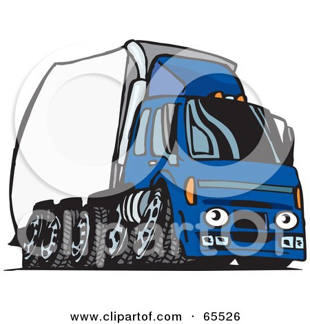 Royalty-Free (RF) Clipart Illustration of a Speeding Blue Semi Truck With A White Trailer by Dennis Holmes Designs