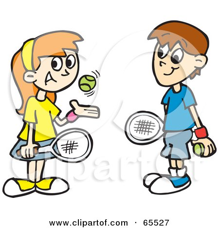Boy And Girl Playing Tennis And Smiling Posters Art