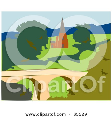 Royalty-Free (RF) Clipart Illustration of a Church in Tasmania by Dennis Holmes Designs