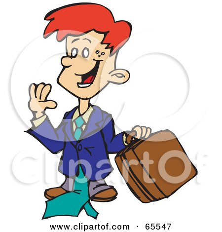 Royalty-Free (RF) Clipart Illustration of a Red Haired Business Boy Carrying A Briefcase by Dennis Holmes Designs