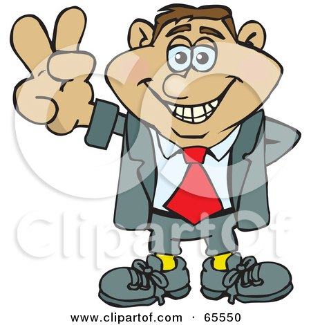 Royalty-Free (RF) Clipart Illustration of a Peaceful Businessman Gesturing The Peace Sign - Version 3 by Dennis Holmes Designs