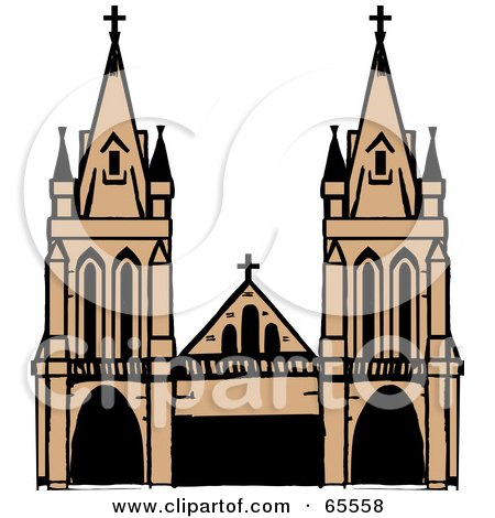 Royalty-Free (RF) Clipart Illustration of a Majestic Cathedral by Dennis Holmes Designs
