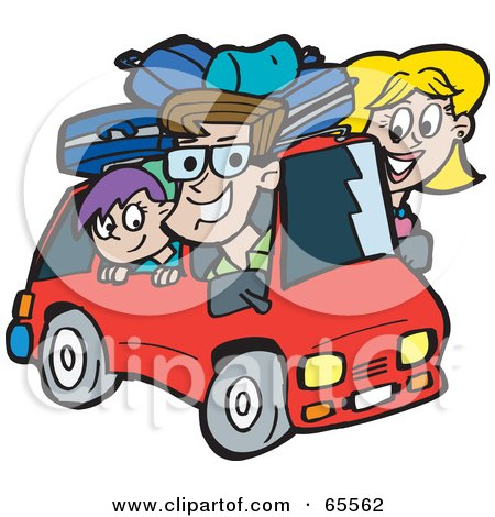 clipart illustration of a happy family with a son and a