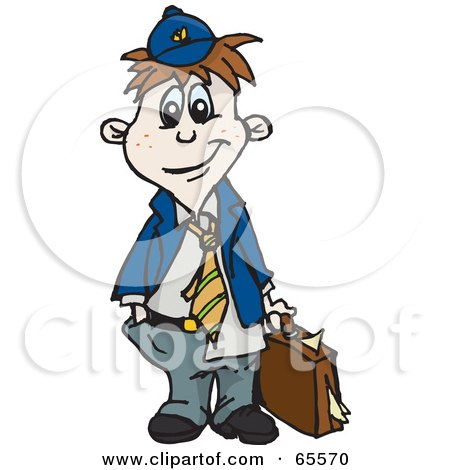 Royalty-Free (RF) Clipart Illustration of a Little Messy Business Boy Carrying A Briefcase by Dennis Holmes Designs