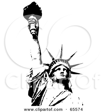 Royalty-Free (RF) Clipart Illustration of a Black And White Statue ...