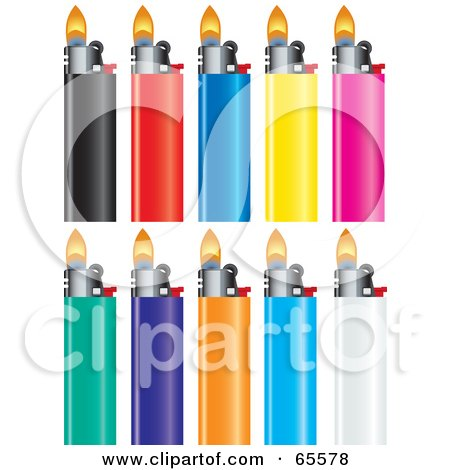 Royalty-Free (RF) Clipart Illustration of a Digital Collage Of Ten Colorful Lighters by Dennis Holmes Designs