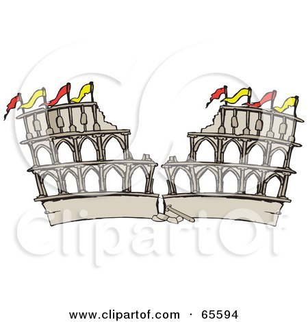 Royalty-Free (RF) Clipart Illustration of a Crumbling Arena In Ruins by Dennis Holmes Designs
