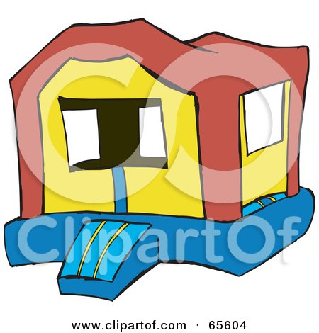 Royalty-Free (RF) Clipart Illustration of a Deserted Bounce House by Dennis Holmes Designs