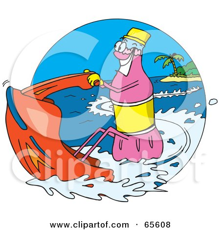 Royalty-Free (RF) Clipart Illustration of a Pink Soda Bottle Jet Skiing by Dennis Holmes Designs