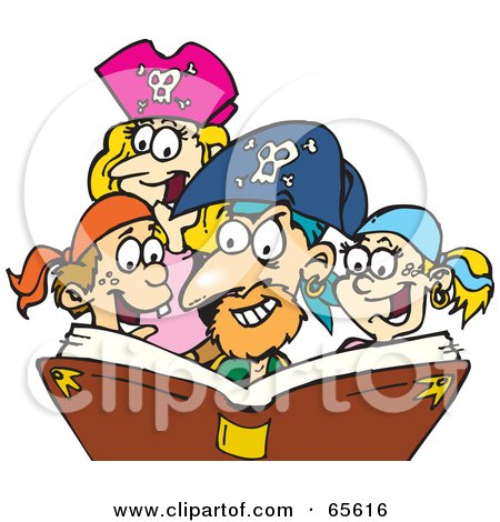 Royalty-Free (RF) Clipart Illustration of a Family Dressed As Pirates, Reading A Story Book by Dennis Holmes Designs