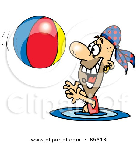 Royalty-Free (RF) Clipart Illustration of a Pirate Guy Swimming And Playing With A Beach Ball - Version 2 by Dennis Holmes Designs